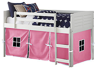 Kids Louvered Twin Low Loft Bed With Tent, White, large