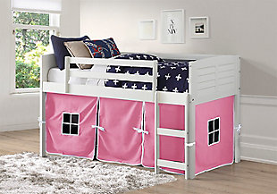 Kids Louvered Twin Low Loft Bed With Tent, White, rollover