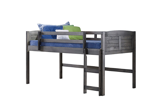 Kids Louvered Twin Low Loft Bed with 3 Drawer Chest, 2 Drawer Chest and Bookcase., , large