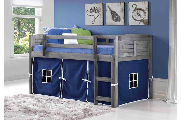 Kids Louvered Twin Low Loft Bed With Tent, Antique Gray/Blue, large
