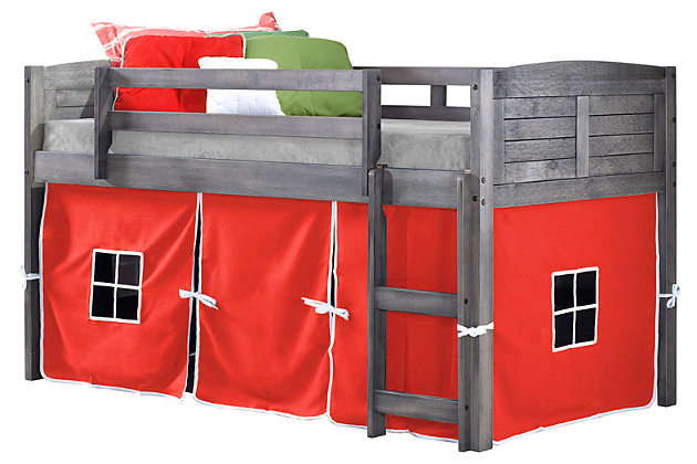 Kids Louvered Twin Low Loft Bed With Tent, Antique Gray/Red, large