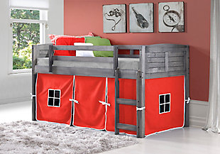 Kids Louvered Twin Low Loft Bed With Tent, Antique Gray/Red, rollover
