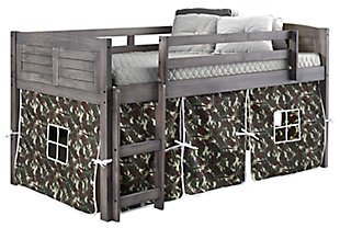 Kids Louvered Twin Low Loft Bed With Tent, Antique Gray/Green/Brown, large