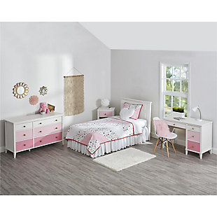 Three Tone Monarch Hill Poppy Pink and White Desk, Pink, rollover