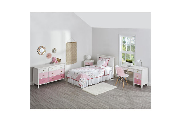 Three Tone Monarch Hill Poppy Pink and White Desk, Pink, large