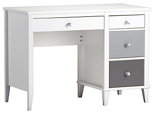 Three Tone Monarch Hill Poppy Grey and White Desk, Gray, rollover