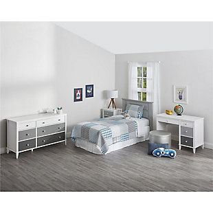 Three Tone Monarch Hill Poppy Grey and White Desk, , rollover