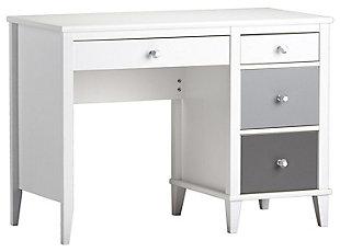 Three Tone Monarch Hill Poppy Grey and White Desk, Gray, large