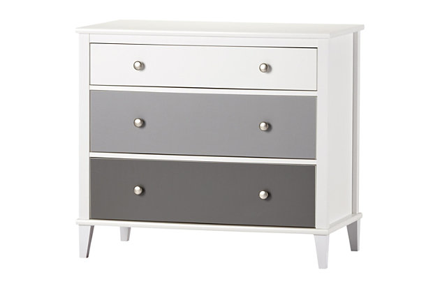 3 Drawer Monarch Hill Poppy Gray and White Dresser, Gray, large