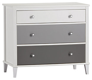 3 Drawer Monarch Hill Poppy Gray and White Dresser, Gray, rollover