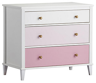 3 Drawer Monarch Hill Poppy Pink and White Dresser, White, large