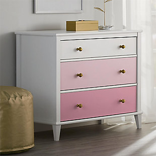 3 Drawer Monarch Hill Poppy Pink and White Dresser, White, rollover