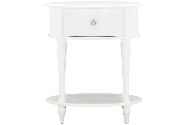 Oval Rowan Valley Laren White Nightstand, , large