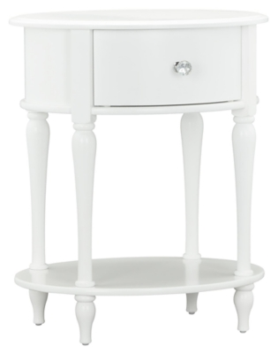 Oval Rowan Valley Laren White Nightstand Ashley Furniture
