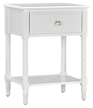 Rectangle Rowan Valley Laren White Nightstand, , large