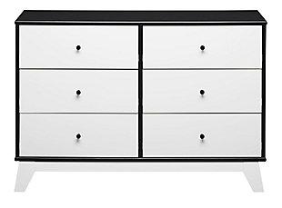 6 Drawer Rowan Valley Flint Black and White Dresser, Black, large