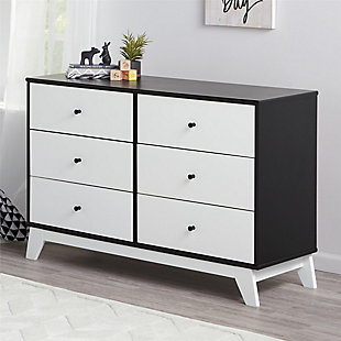 6 Drawer Rowan Valley Flint Black and White Dresser, Black, rollover