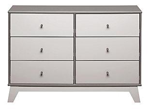 6 Drawer Rowan Valley Flint Gray Dresser, Gray, large