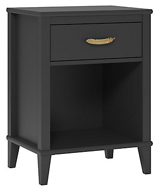 Single Drawer Monarch Hill Hawken Black Nightstand, , large