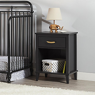 Single Drawer Monarch Hill Hawken Black Nightstand, , rollover