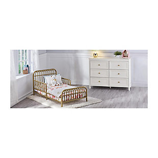 Metal Monarch Hill Ivy Gold Metal Toddler Bed, Gold, rollover
