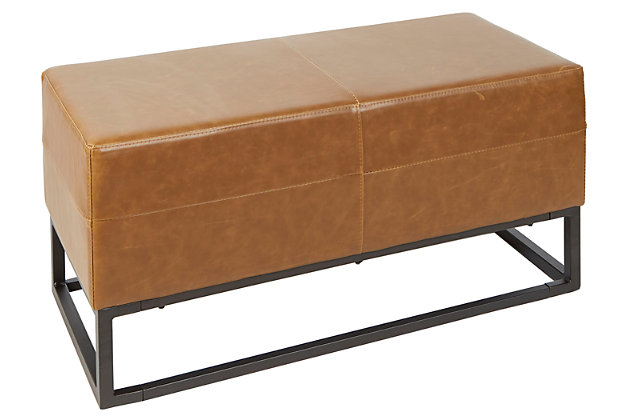 Square Bench with Upholstered Panel and Metal Frame, , large