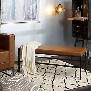 Upholstered Bench with Metal Frame, , rollover