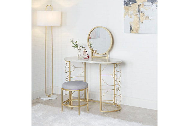 Vanity Set with Mirror and Stool, , large