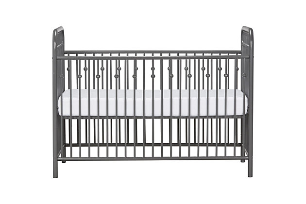 Little Seeds Monarch Hill Ivy Metal Crib, Gray, large