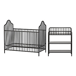 Little Seeds Rowan Valley Lanley Metal Crib and Changing Table Bundle, Black, large