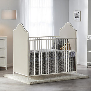 Little Seeds Piper Upholstered Metal Crib, Cream, rollover