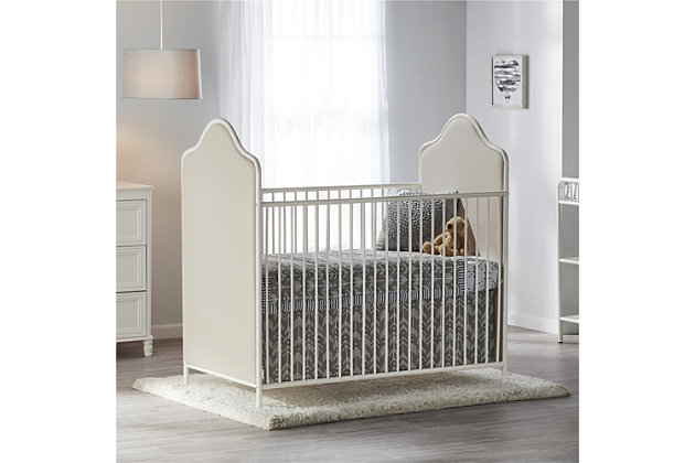 Little Seeds Piper Upholstered Metal Crib, Cream, large
