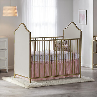 Little Seeds Piper Upholstered Metal Crib, Gold, large