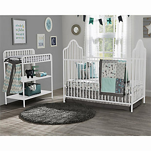 Little Seeds Rowan Valley Lanley Metal Crib and Changing Table Bundle, White, rollover