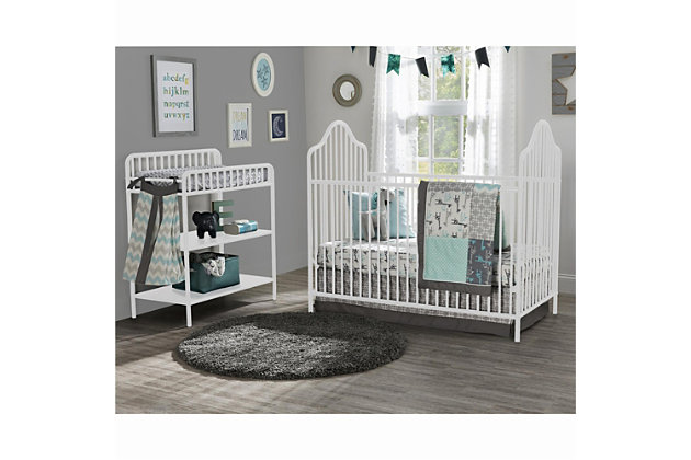 Little Seeds Rowan Valley Lanley Metal Crib and Changing Table Bundle, White, large