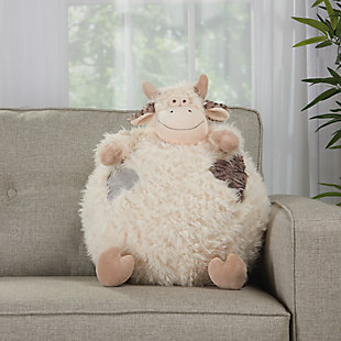 Kids Plush Cow Pouf Round Animal Pillow, , large