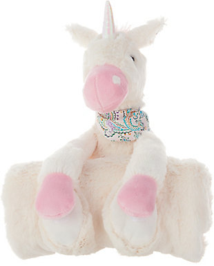 Kids Plush Unicorn With Blanket Animal Pillow, , rollover