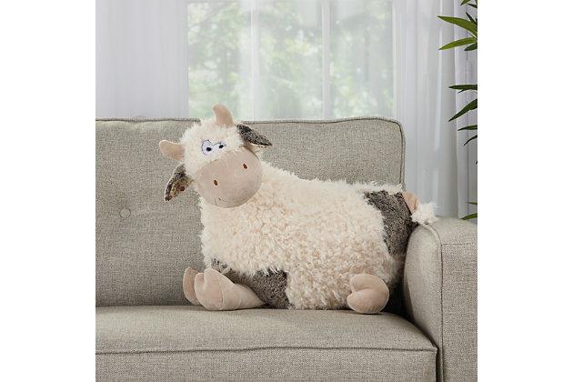 Kids Plush Cow Animal Pillow, , large