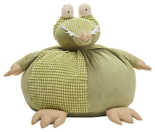 Kids Plush Crocodile Pouf Round Animal Pillow, , large