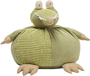 Kids Plush Crocodile Pouf Round Animal Pillow, , rollover