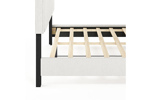 Upholstered Queen Panel Bed with Nailhead Trim, , large