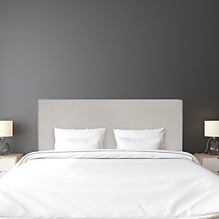 Upholstered Queen Panel Headboard, Fog, rollover