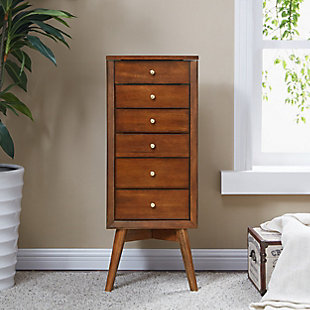 Lift top Jewelry Armoire with 5 Drawers, , rollover