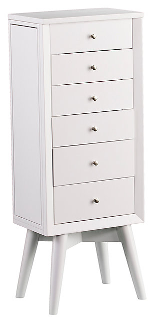 Lift top Jewelry Armoire with 5 Drawers, , large