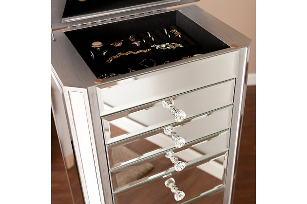Mirrored Jewelry Armoire with 7 Drawers, , large