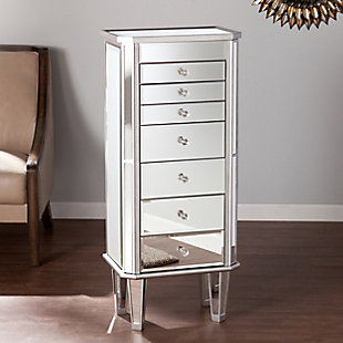 Mirrored Jewelry Armoire with 7 Drawers, , rollover