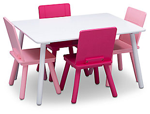 Delta Children Kids Table and 4 Chair Bundle, Pink/White, large