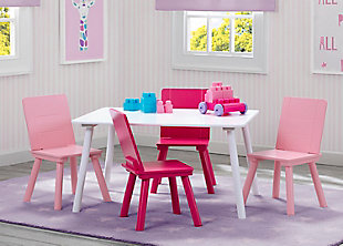 Delta Children Kids Table and 4 Chair Bundle, Pink/White, rollover