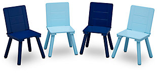 Kids Table and 4 Chair Bundle, Blue/Gray, large