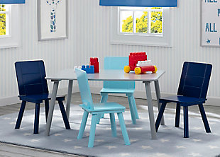 Kids Table and 4 Chair Bundle, Blue/Gray, rollover